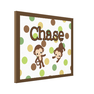 CHASE Personalized Monkey Wall Art Name Canvas Canvas Print