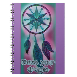 Chase your dreams inspirational dream catcher spiral notebooks