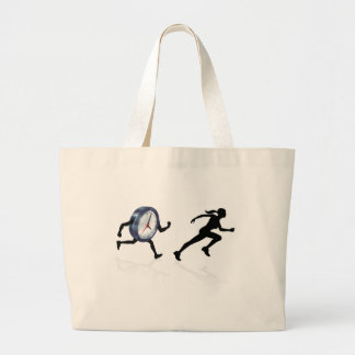 Chased by the Clock Time Pressure Large Tote Bag
