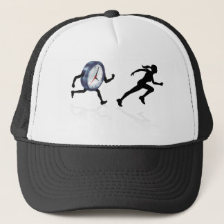 Chased by the Clock Time Pressure Trucker Hat