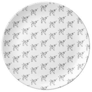 Chasin' Unicorns Geometric Crystal Unicorn Pattern Plate