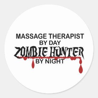 Chasseur de zombi de thérapeute de massage sticker rond
