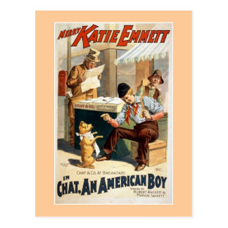 Chat, an American Boy Vintage Theatre Poster. Postcard
