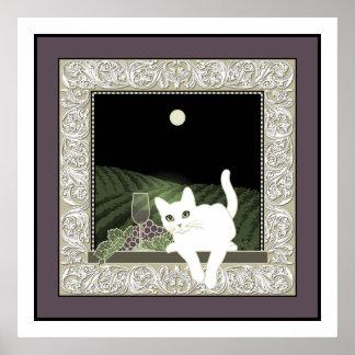 Chat Blanc, Vin et la Lune Poster