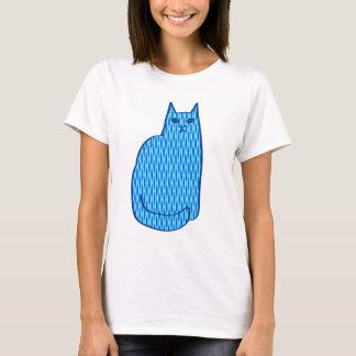 Chat, cobalt et bleu-clair modernes de la moitié t-shirt