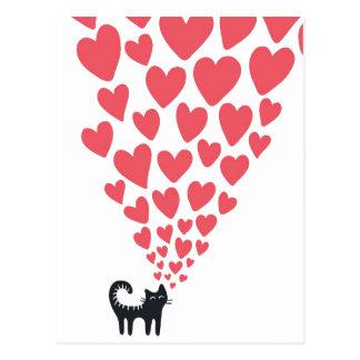 Chat dans l'amour carte postale