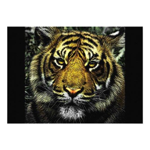 chat d'art numérique de portrait de tête du tigre cartons d'invitation