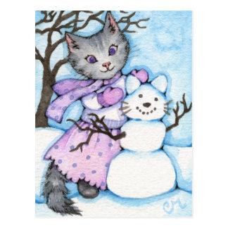 Chat de neige - carte postale mignonne de Kitty