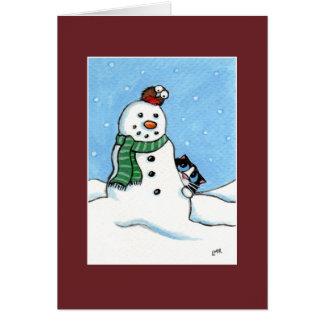 Chat de smoking, Robin et carte de Noël de bonhomm