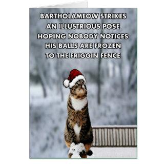 Chat drôle de Noël Carte De Vœux