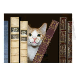 Chat et livres carte de vœux