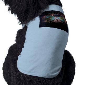 Chat frais de l'espace avec des verres de tee-shirt pour animal domestique