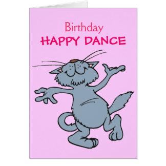 Chat heureux de bande dessinée de danse de joyeux  carte de vœux