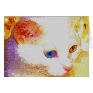 Chat mélangé de couleur d'oeil carte de vœux
