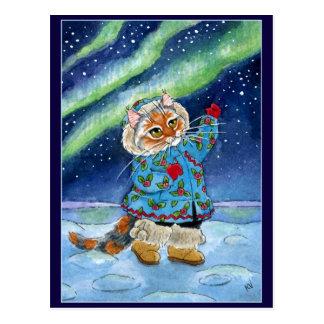 Chat mignon, carte postale de lumières du nord