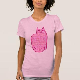 Chat moderne de la moitié du siècle, fuchsia et t-shirt