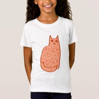 Chat moderne de la moitié du siècle, orange et T-Shirt