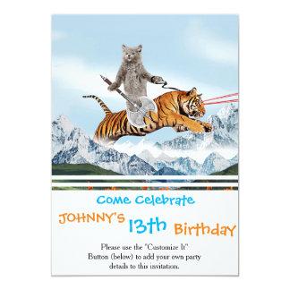 Chat montant un tigre carton d'invitation  12,7 cm x 17,78 cm