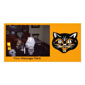 Chat noir classique personnalisé de Halloween de Photocartes