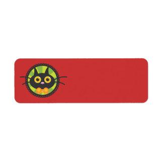 Chat noir en cercle noir étiquette d'adresse retour