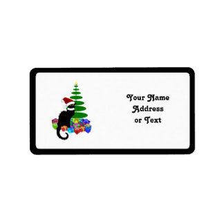 Chat Noir With Christmas Tree and Gifts Label