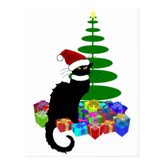 Chat Noir With Christmas Tree and Gifts Postcard