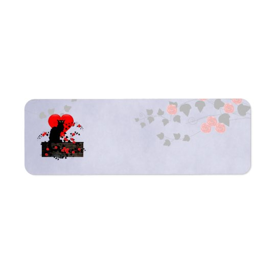Chat Noir with Red Roses Return Address Label