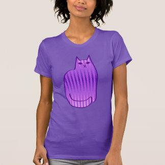 Chat, orchidée et pourpre modernes de la moitié du t-shirt