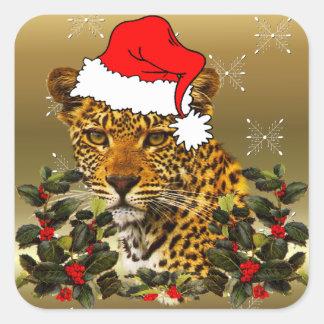 Chat sauvage de Noël Sticker Carré