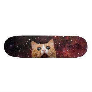 chat scaredy dans l'espace planche à roulette customisée