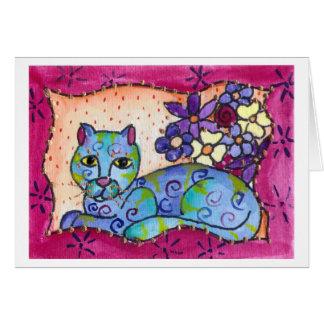 Chat tigré bleu carte