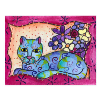 Chat tigré bleu cartes postales