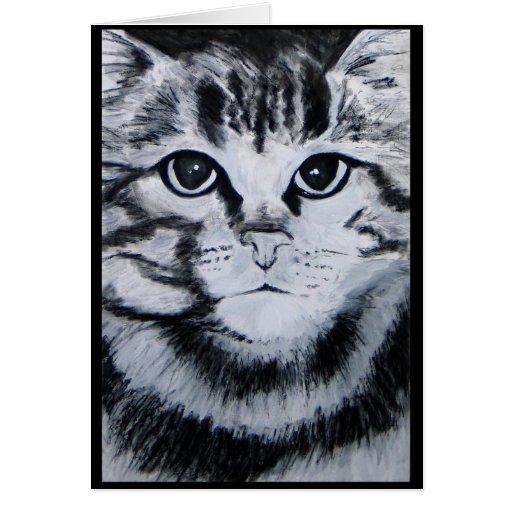 Chat tigré carte de vœux