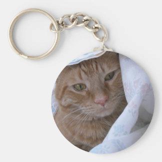 Chat tigré orange porte-clé rond