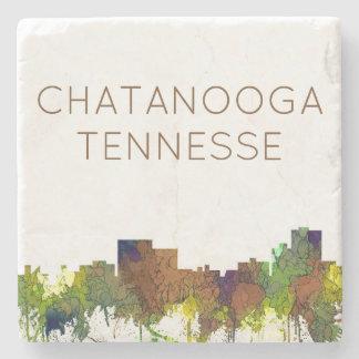 Chatanooga Tennessee Skyline Safari Buff Stone Coaster