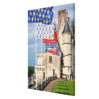 Chateau d'Amboise and flag, France Canvas Print