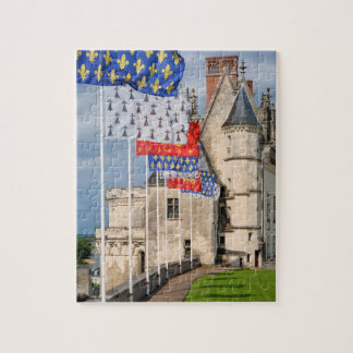 Chateau d'Amboise and flag, France Jigsaw Puzzle