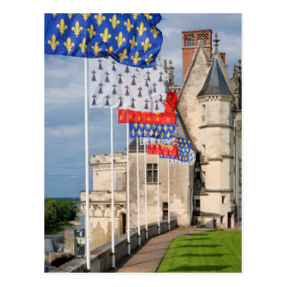 Chateau d'Amboise and flag, France Postcard