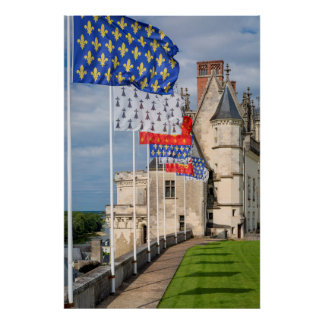 Chateau d'Amboise and flag, France Poster