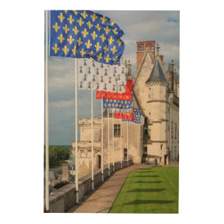 Chateau d'Amboise and flag, France Wood Print