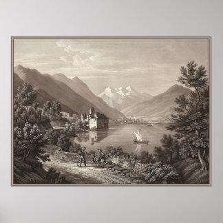 Chateau de Chillon, Lake Geneva, Switzerland Poster