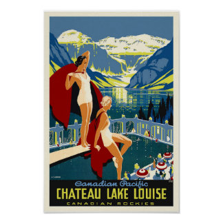 Chateau Lake Louise Banff Vintage Travel Poster