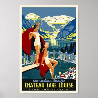 Chateau Lake Louise Banff Vintage Travel Poster