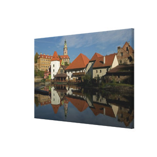 Chateau tower, Vltava River, Cesky Krumlov, Canvas Prints