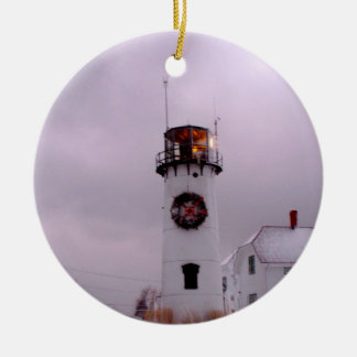 Chatham Lighthouse in the Snow Ceramic Ornament