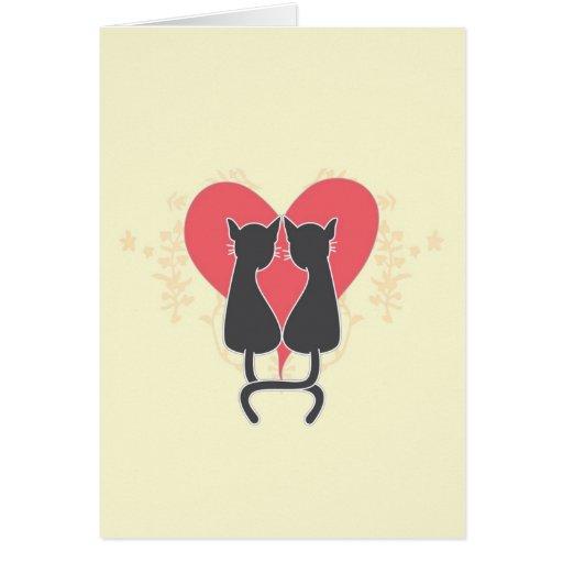 Chats d'amour carte de vœux