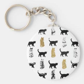 Chats de Kitty en or et marbre noir et blanc Porte-clé Rond