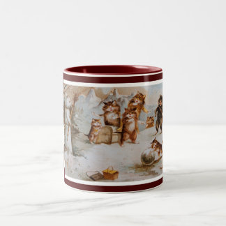 Chats de Noël de Maurice Boulanger Mug Bicolore