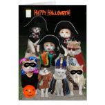 Chats drôles rôdant Halloween Carte De Vœux