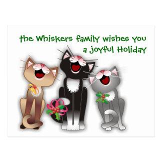 Chats joyeux carte postale